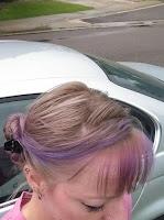 simple updo hairstyle tutorial bun chignon light blonde hair prom night pink streaks french twist