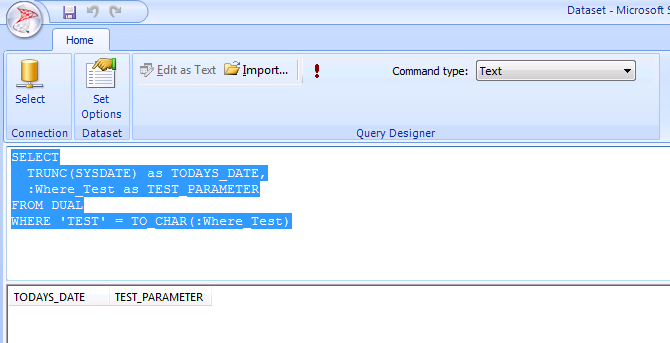 IT Help and Advice: SSRS: Working With Oracle Database Parameters In