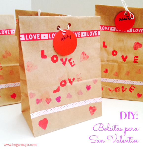 Bolsitas de papel decoradas para San Valentín