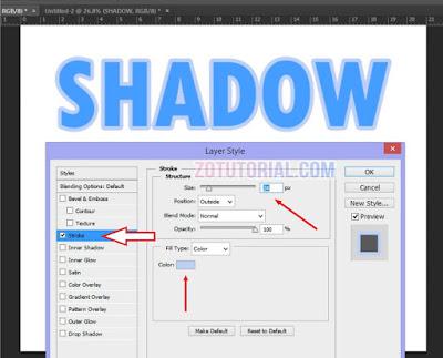 Membuat Efek Shadow di Dalam Tulisan Menggunakan Photoshop - Stroke