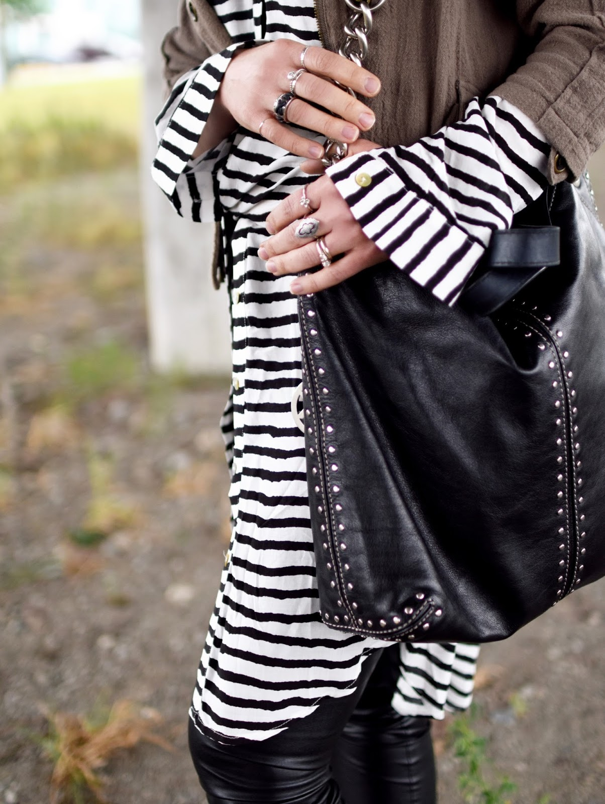 striped shirtdress, vegan leather leggings,bomber jacket, Michael Kors bag