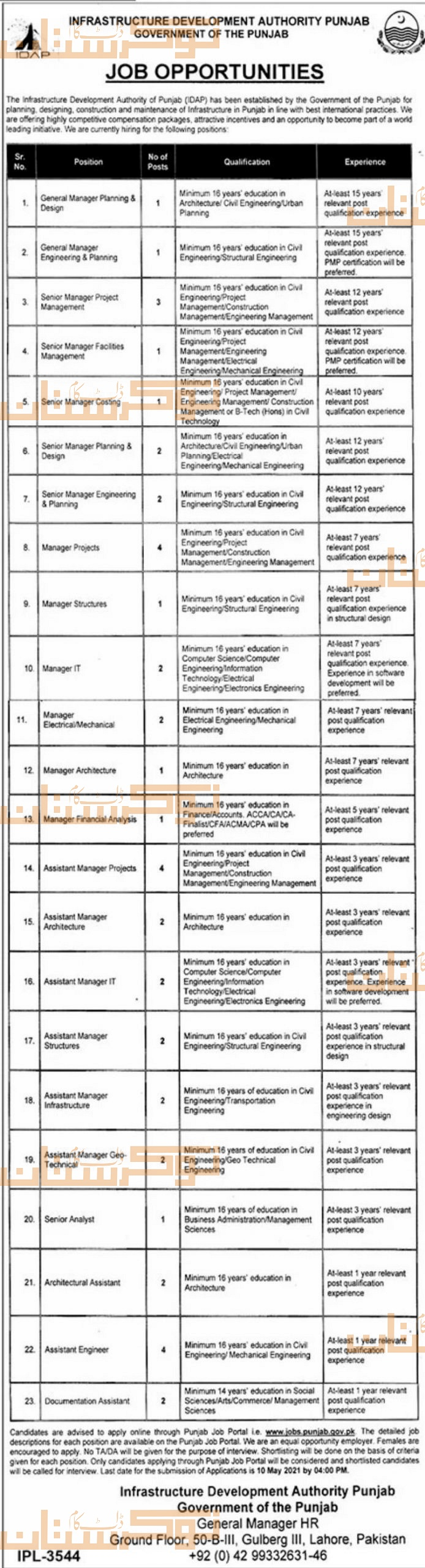 government,infrastructure development authority punjab idap,general manager, senior manager, manager projects, manager structures, manager it and many more,latest jobs,last date,requirements,application form,how to apply, jobs 2021,