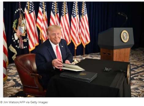 Trump signs 4 chief activities on coronavirus help President Donald Trump marked
