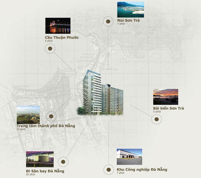 Liên kết tiện ích tầm trung đến căn hộ Sơn Trà Ocean View Đà Nẵng