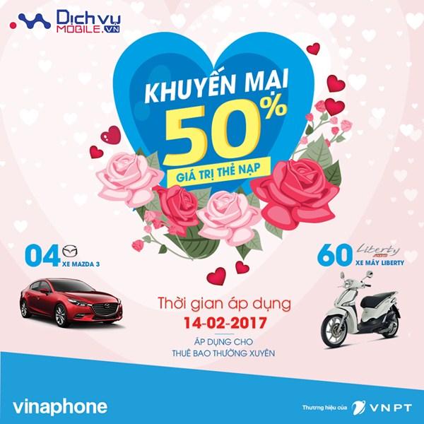 Vinaphone khuyến mãi 50% giá trị thẻ nạp ngày 14/2/2017 dịp Valentine