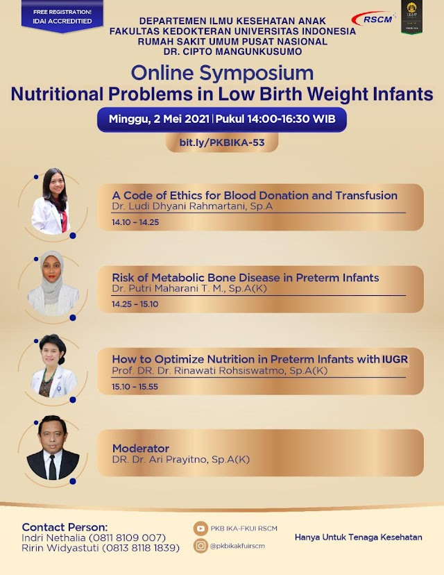 "(FREE) Webinar *""Nutritional Problems in Low Birth Weight Infants""*"
