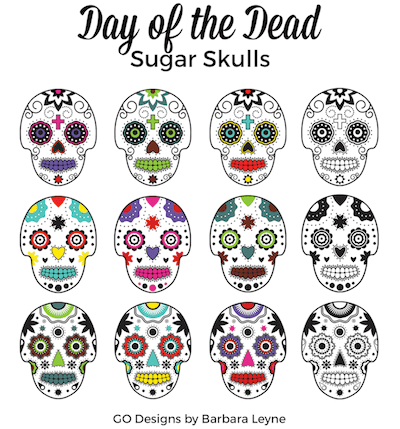 https://www.teacherspayteachers.com/Product/12-Sugar-Skulls-Day-of-the-Dead-Clipart-3364460