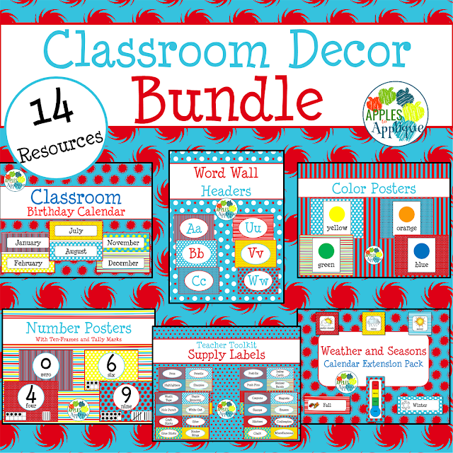 Classroom decor in a primary color theme is perfect for early childhood | Apples to Applique