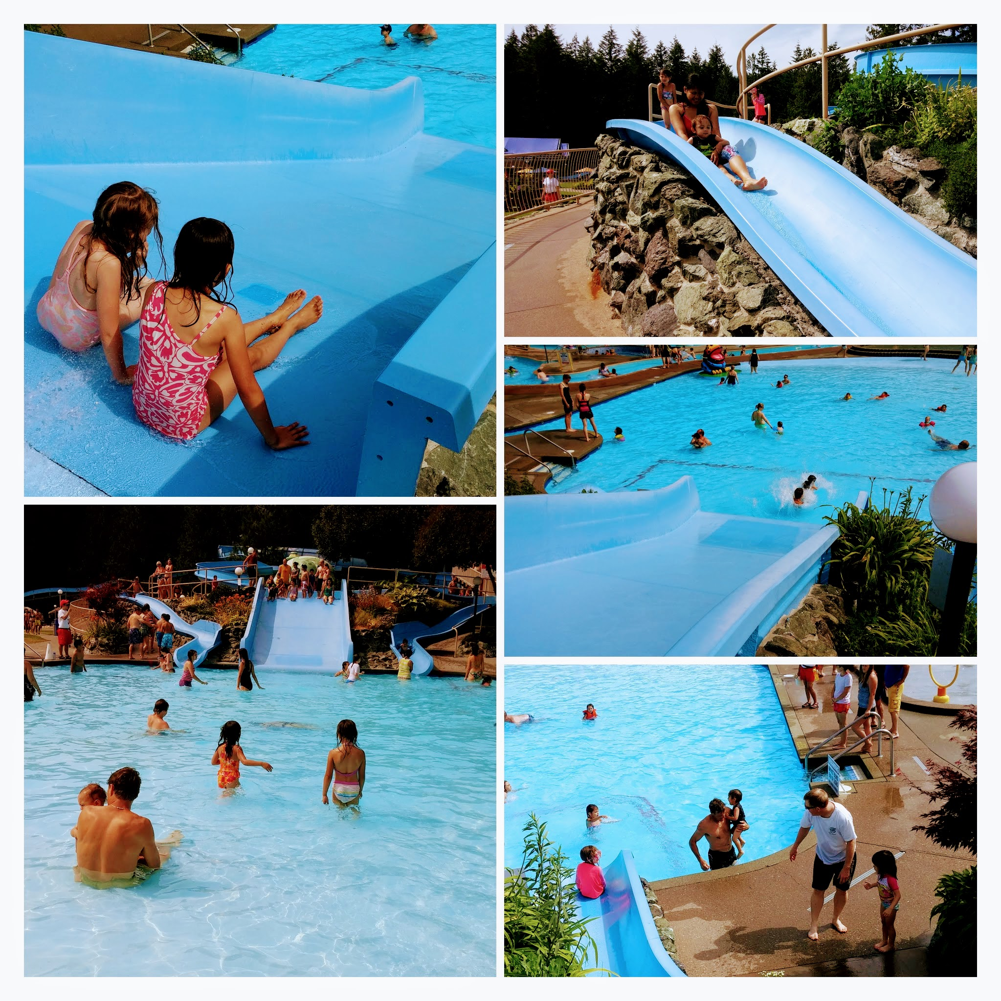 Small waterslide for small children, accompanied by adults.