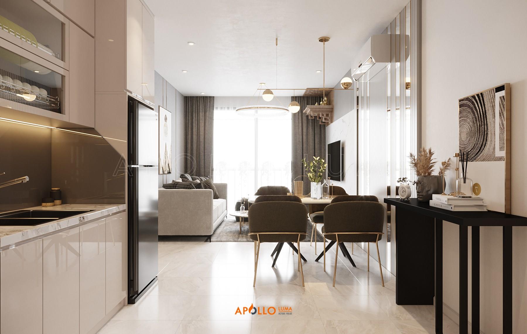 Thiết kế nội thất căn 55m2 (2PN+1) S1.11-8A Vinhomes Ocean Park