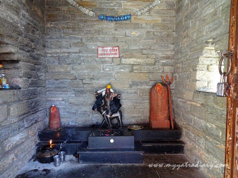 Deity of Bhairav Devta at Kasar Devi Temple, Uttarakhand