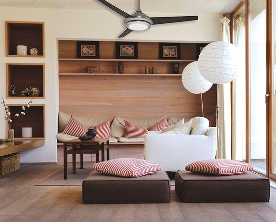 Ventilador de teto em decoração descontraida
