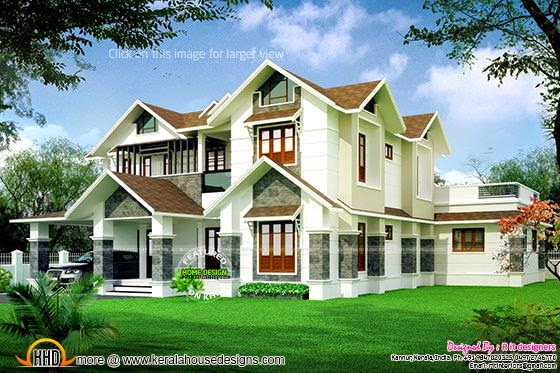 Beautiful sloped roof villa