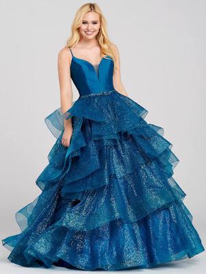 Ellie Wilde Tiered Ball Gown Navy blue prom dress