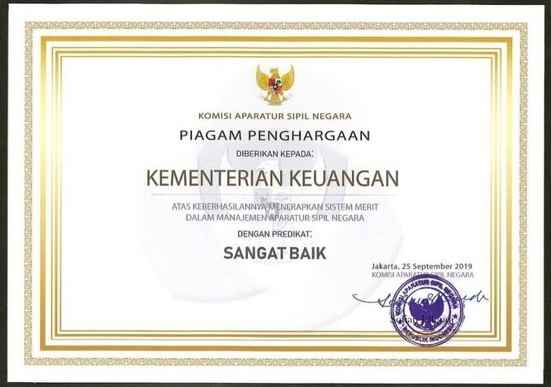 Kemenkeu Raih Penghargaan Sebagai Kementerian dengan Sistem Merit Terbaik