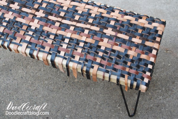 Weaving is such a fun craft! Check out this post on our patio to see our upcycled porch swing with a similar woven pattern.