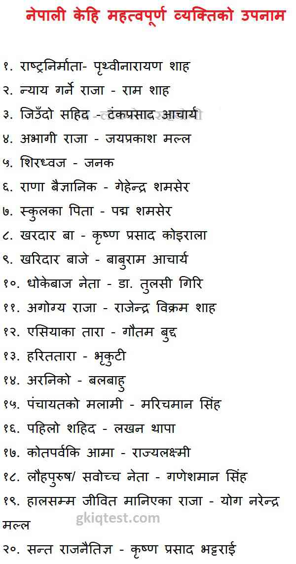 Samanya Gyan Question Answer in Nepali about Nickname of a ...