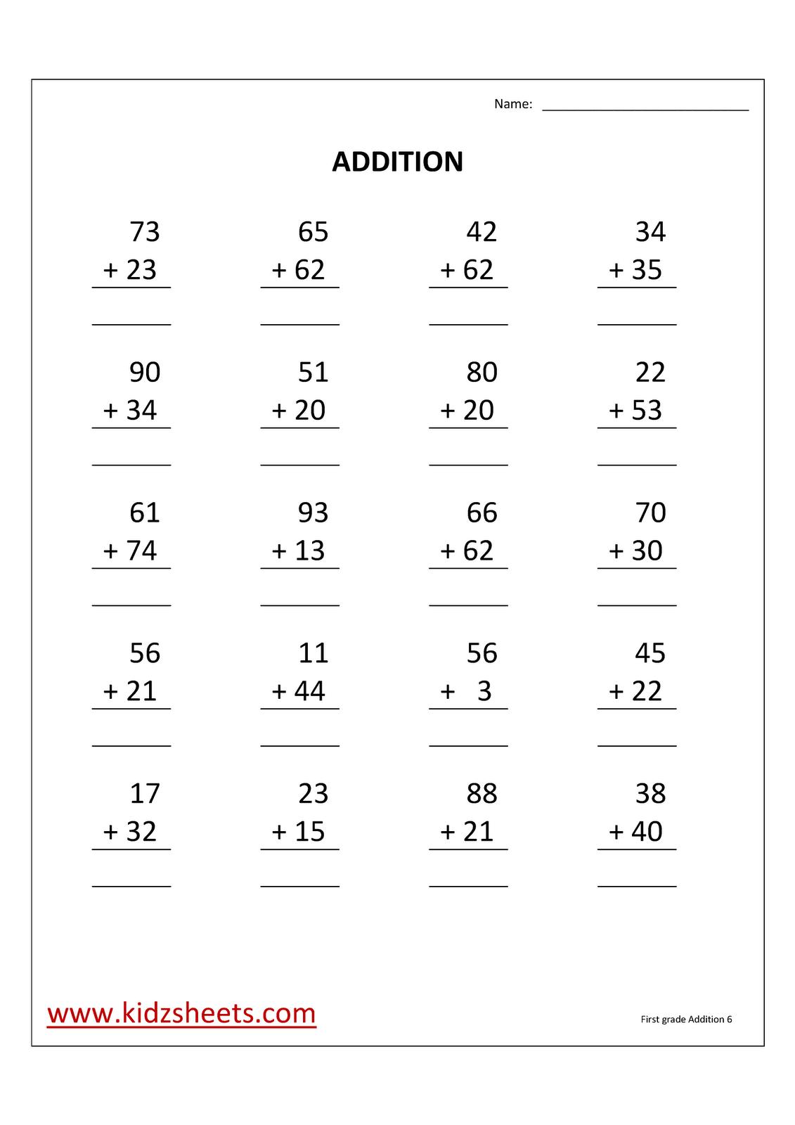 Kidz Worksheets First Grade Addition Worksheet6
