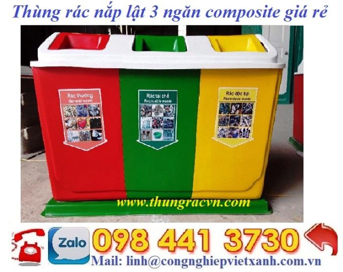thùng rác phân loại 3 ngăn nắp lật, thùng rác nắp lật 3 ngăn, thùng rác composite 3 ngăn nắp lật, thùng phân loại rác 3 ngăn, thùng rác 3 ngăn giá rẻ, thùng rác phân loại 3 ngăn