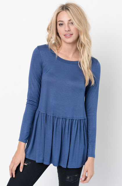 Buy Now Blue Ruffled Long Sleeve Tunic Online $34 -@caralase.com
