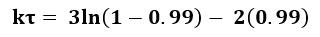 Ecuación de la constante cinética de reacción con valores sustituidos