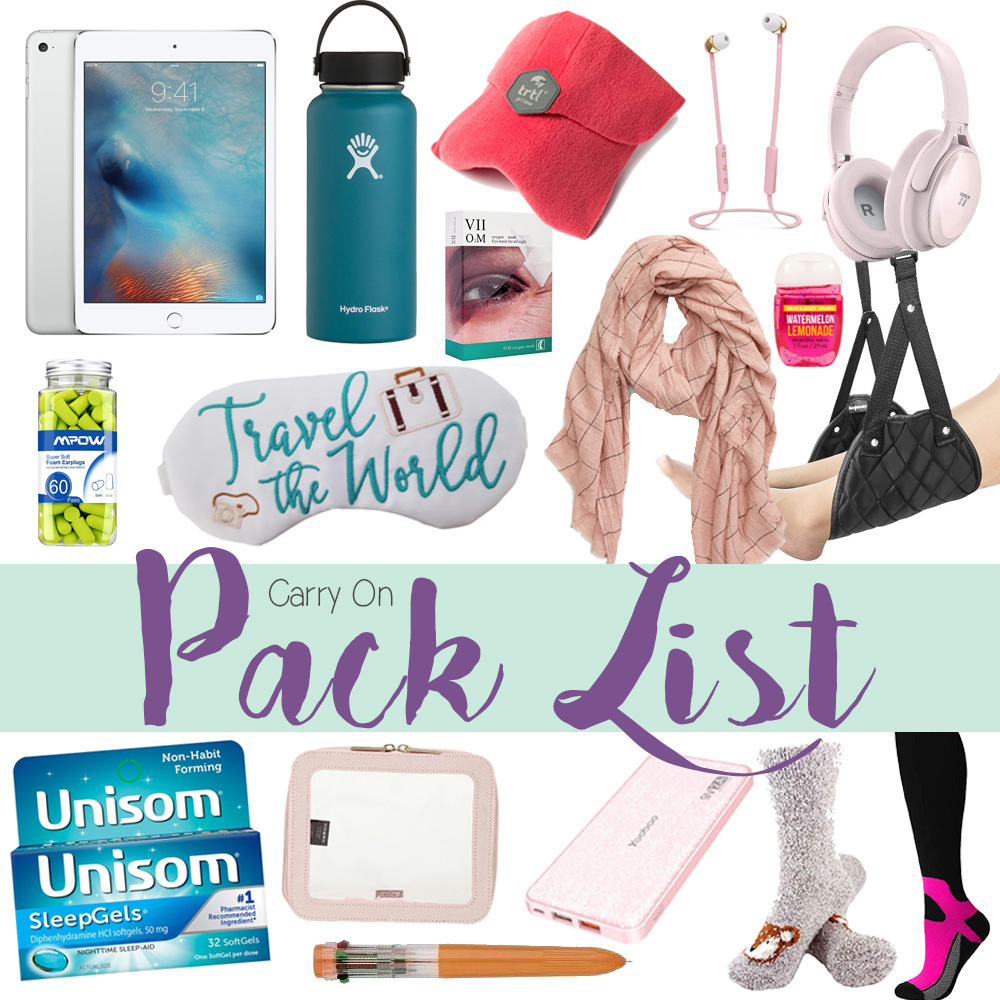 blogger Amanda Martin shares her carry on pack list for overnight flights