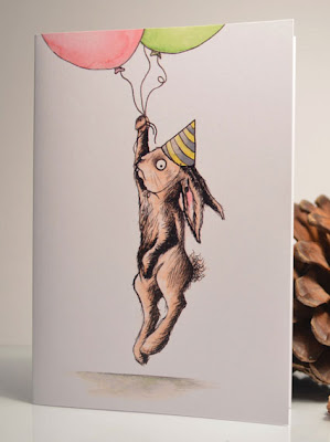 rabbit and balloons blank greeting card