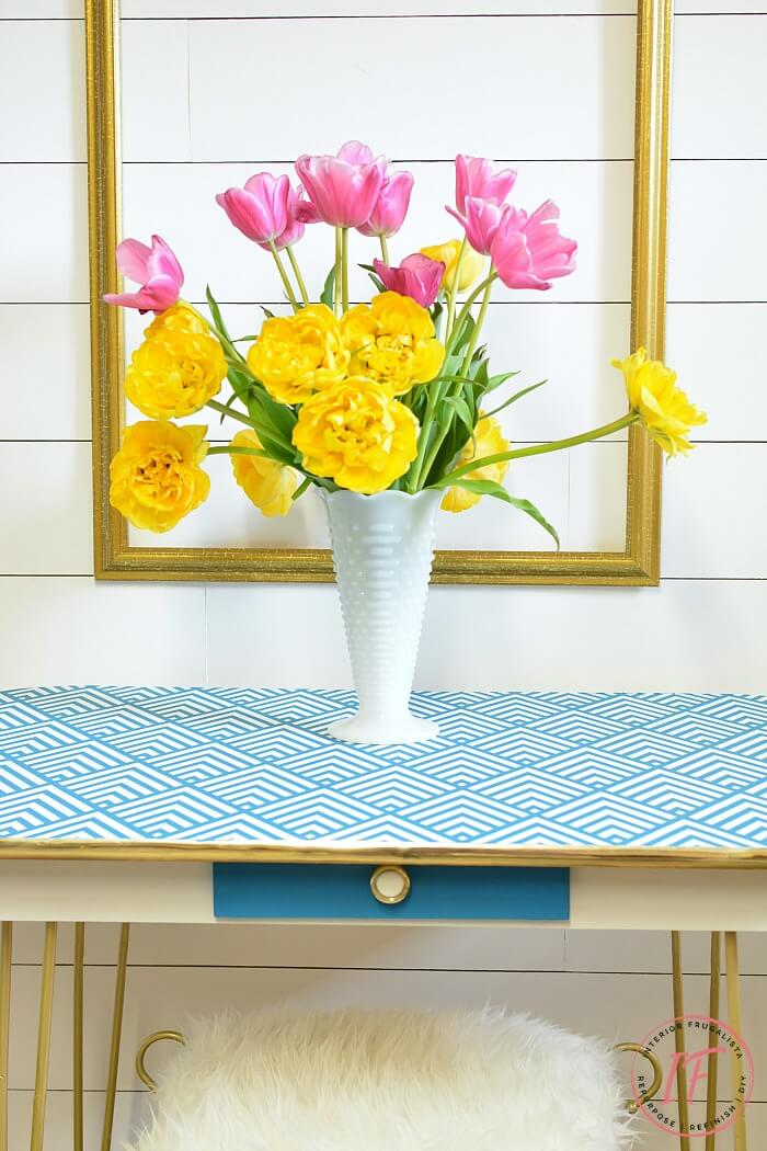 Geometric Stenciled Arborite Retro Dining Table