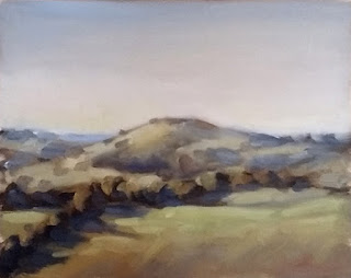 Landscape oil painting of lightly wooded hills at late afternoon.
