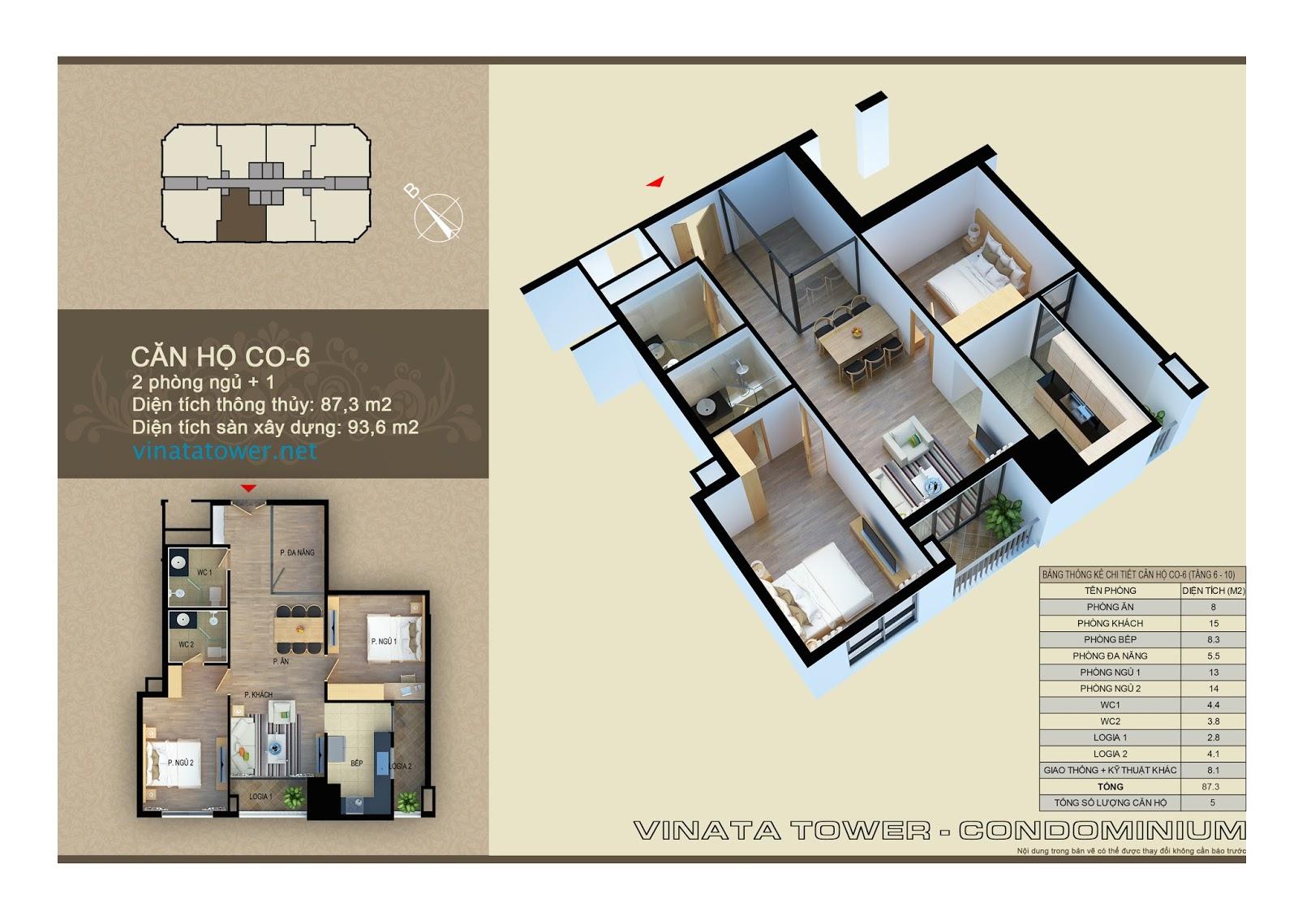 Thiết kế chi tiết căn 06 chung cư Vinata Towers: 87,3m2, 2PN, 1 đa năng, 2VS