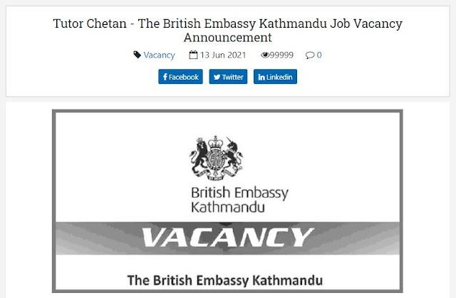 The British Embassy Kathmandu Vacancy Announcement