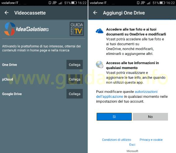 Vcast consentire accesso a archivio cloud