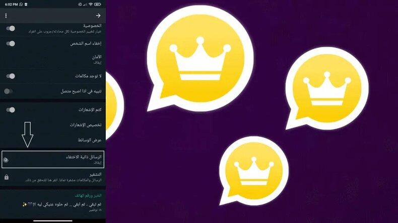 تفعيل الرسائل ذاتية الاختفاء واتساب الذهبى 2022