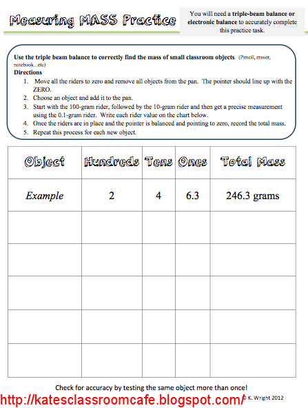 Kate 39 S Science Classroom Cafe Measuring Mass Worksheet