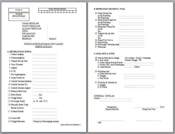 Formulir PPDB Format S1 untuk SD