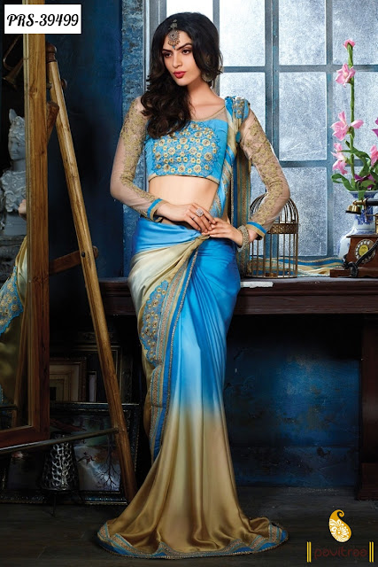 Sky color fancy pattern sarees online for college girls