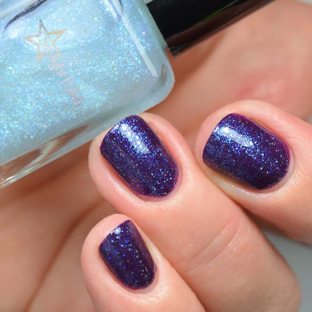 blue fleck nail polish topper swatched over purple
