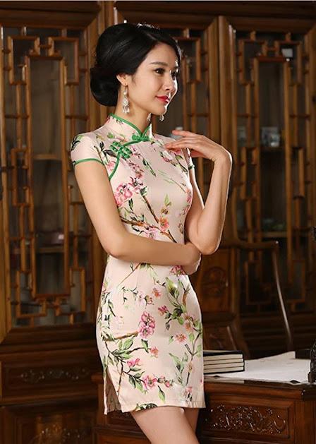 Floral Mini Cheongsam Qipao Dresses