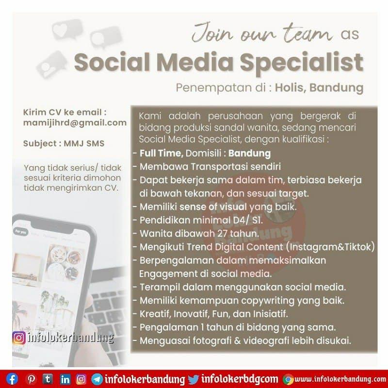 Lowongan Kerja Social Media Specialist Mamiji Bandung Maret 2021
