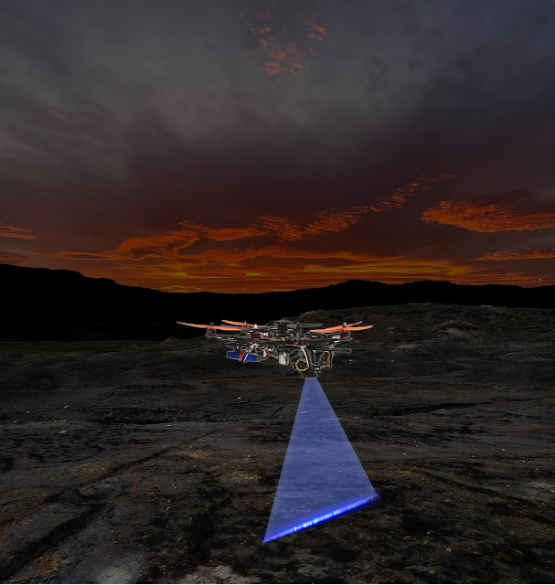 Automated laser-scanning 'hunter drone' seeks out fossils, minerals and biological targets