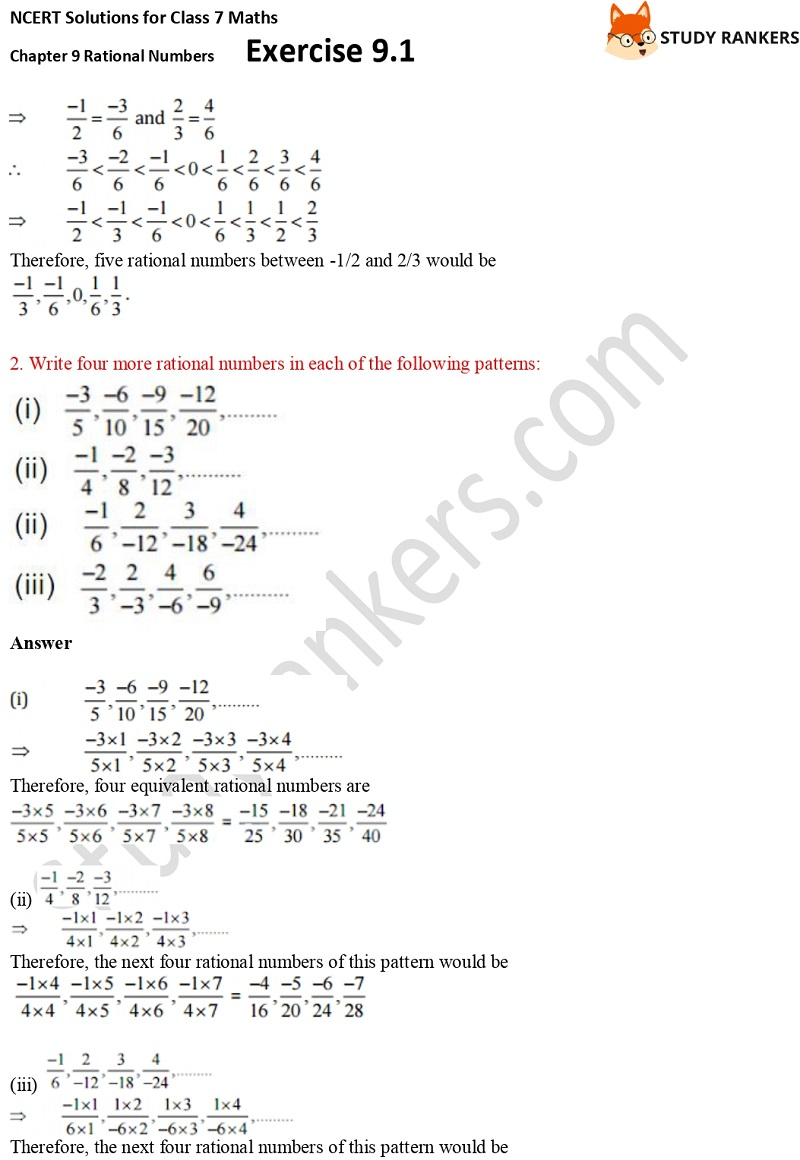 NCERT Solutions for Class 7 Maths Ch 9 Rational Numbers Exercise 9.1 2