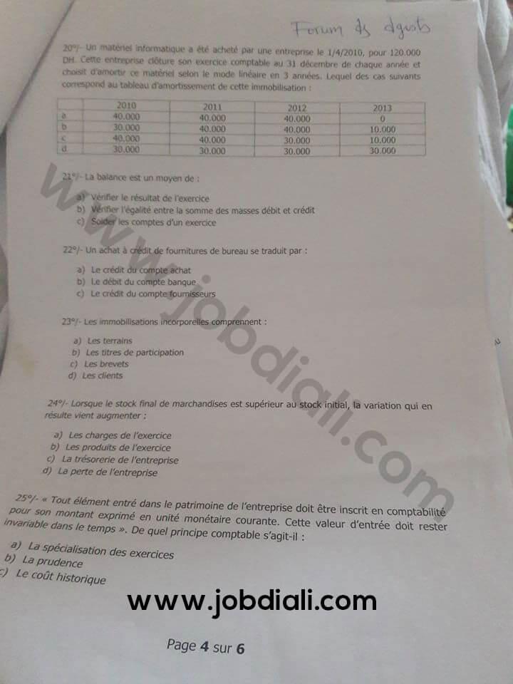 Exemple Concours de Recrutement des Techniciens de 3ème grade 2015 - Ministère de l'Economie et des Finances