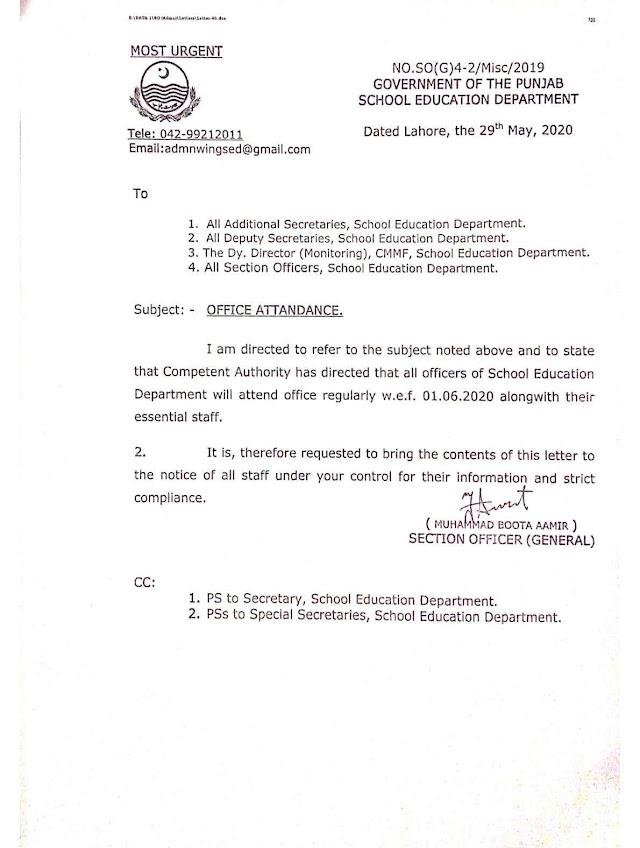 OFFICE ATTENDANCE OF SCHOOL EDUCATION DEPARTMENT
