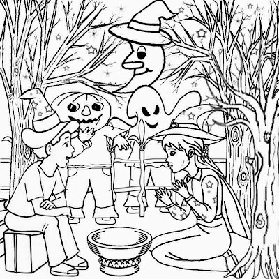 Fun kids crafts ogre ghost wizard and witch clipart costumes Halloween cartoon coloring pages ideas