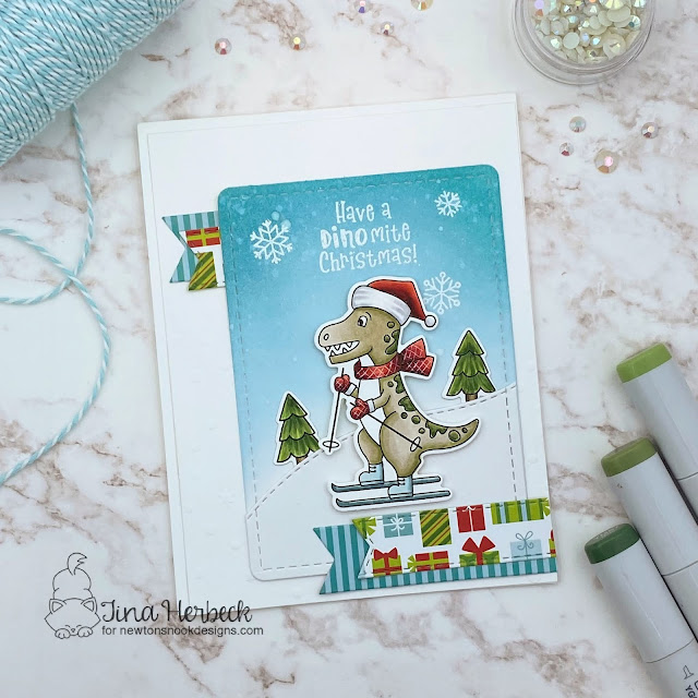 Dinosaur Christmas Card by Tina Herbeck | Prehistoric Christmas Stamp Set, Meowy Christmas Paper Pad and Frames & Flags Die Set by Newton's Nook Designs