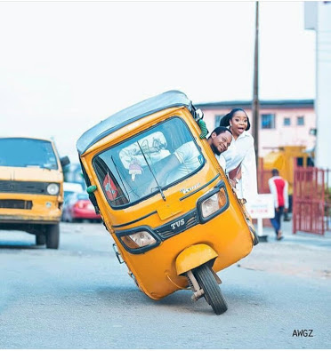 Excited Couple Rides Keke In Beautiful Pre-wedding Pictures