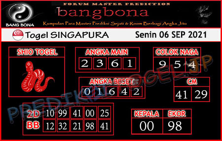 Prediksi Bangbona Togel Singapura Senin 06 September 2021