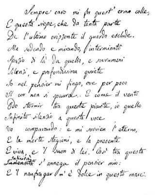 Giacomo Leopardi, L'infinito, El Infinito, Poesia italiana