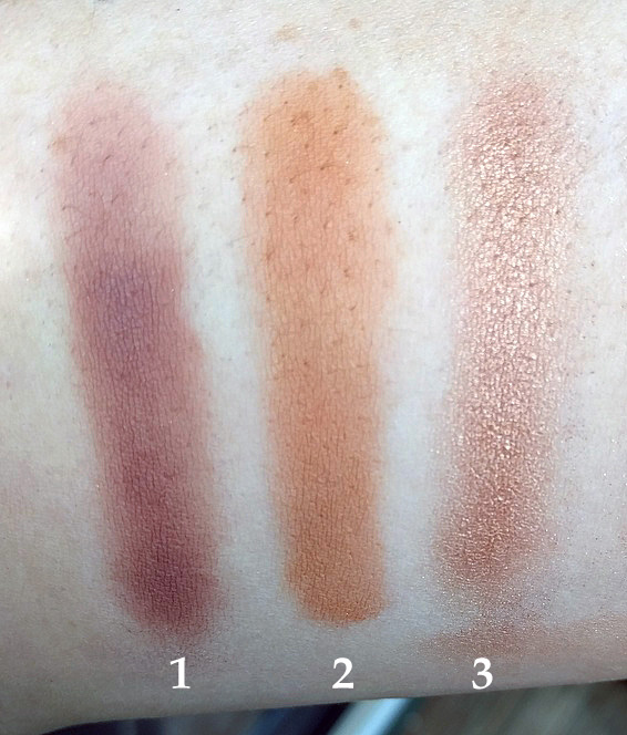 Swatches of (1) Laura Mercier Fresco, (2) medium warm brown from Juvia's Place Nubian Palette, and (3) Wet N Wild Comfort Zone palette (brown eyelid shade).
