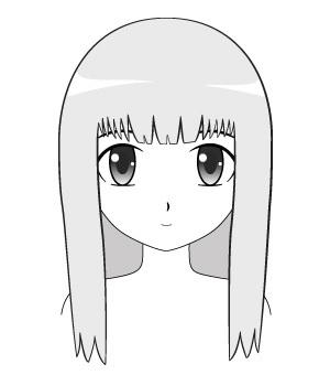 Contoh cara menggambar rambut anime yang dipangkas dan terlihat rapi